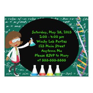 "African American Girl  Scientist Party Invitation 5"" X 7"" Invitation Card"