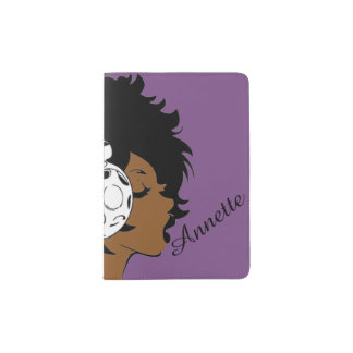 African American Girl w/Headphones Passport Holder