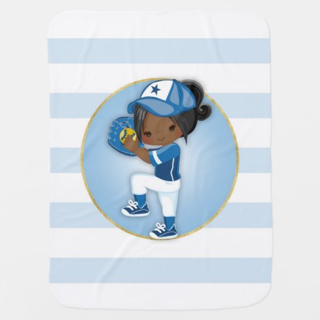 African American Girls Blue Softball Baby Blanket