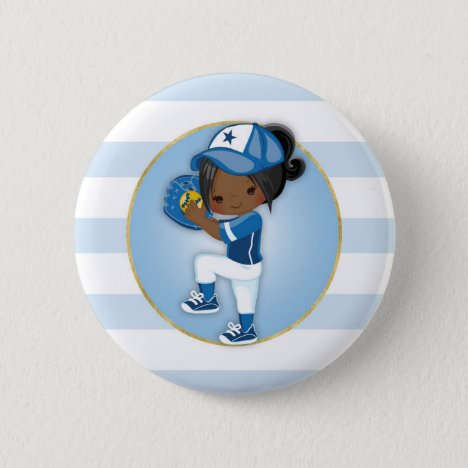 African American Girls Blue Softball Button
