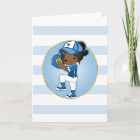 African American Girls Blue Softball Card