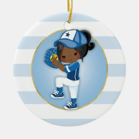 African American Girls Blue Softball Ceramic Ornament