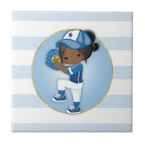 African American Girls Blue Softball Ceramic Tile