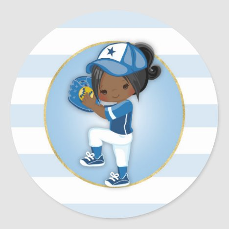 African American Girls Blue Softball Classic Round Sticker