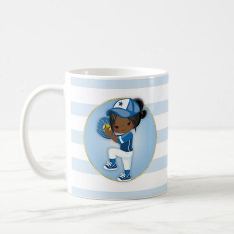 African American Girls Blue Softball Coffee Mug