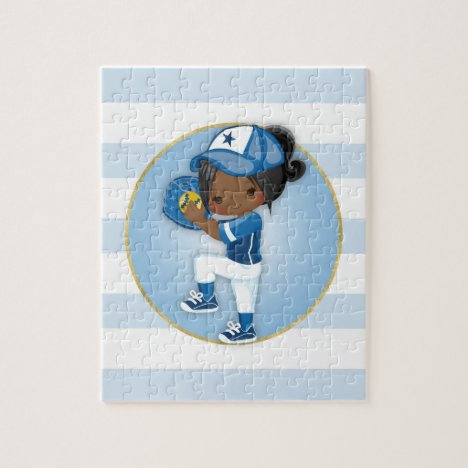 African American Girls Blue Softball Jigsaw Puzzle