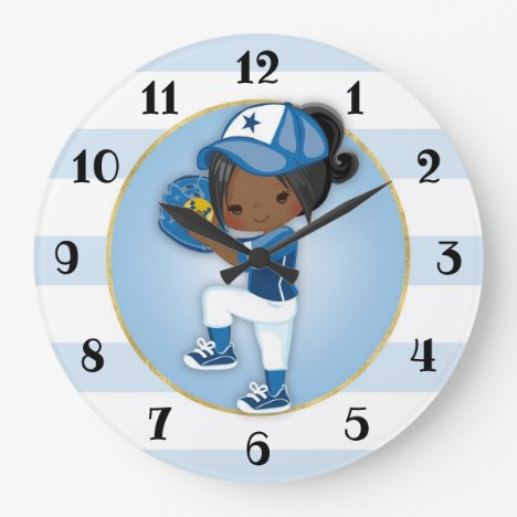 African American Girls Blue Softball Large Clock
