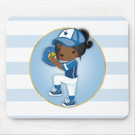 African American Girls Blue Softball Mouse Pad