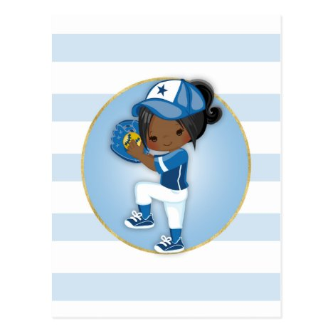 African American Girls Blue Softball Postcard