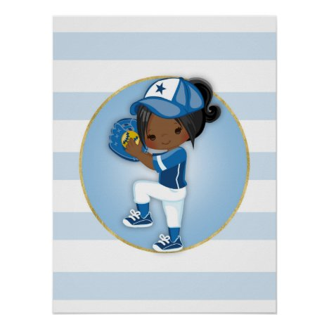 African American Girls Blue Softball Poster