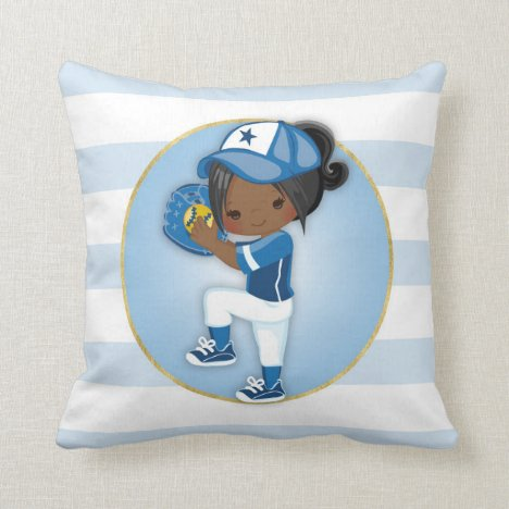 African American Girls Blue Softball Throw Pillow