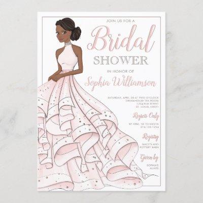 African American Glitter Glam Bride Bridal Shower Invitation