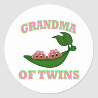 African American Grandma to Twins Classic Round Sticker