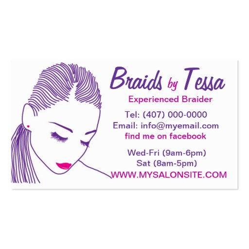 African american hair braiding salon business card for Hair braiding business cards