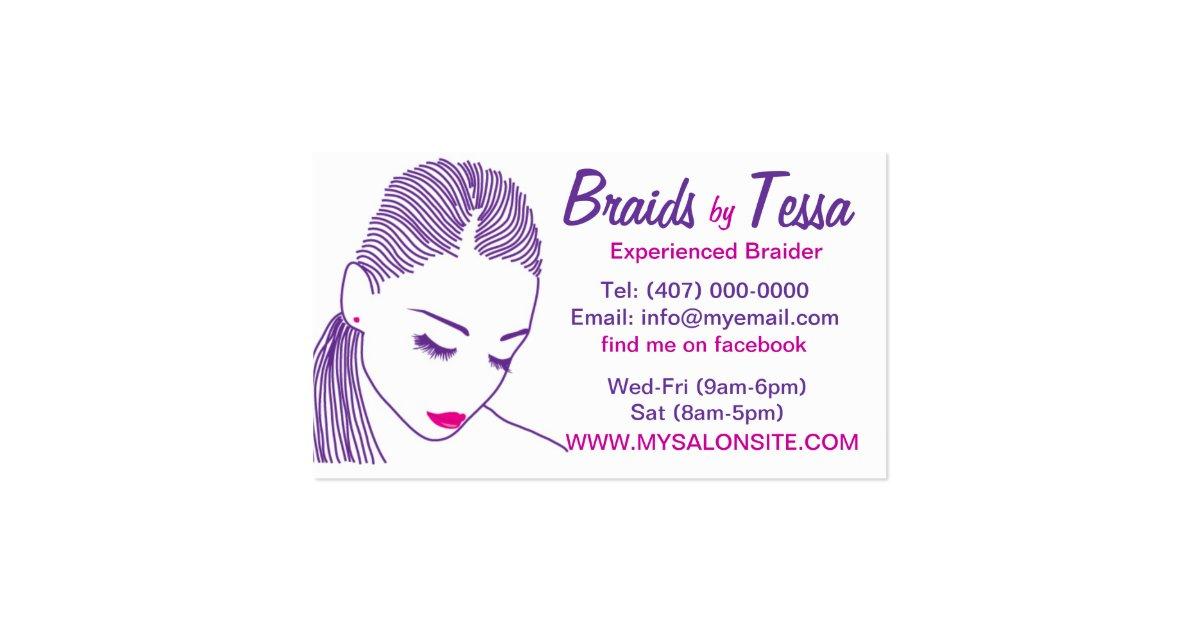 African american hair braiding salon business card zazzle for Hair braiding business cards