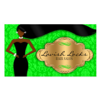 African American Hair Stylist Green Gold Damask Business Card
