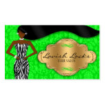 African American Hair Stylist Green Gold Zebra Double-Sided Standard Business Cards (Pack Of 100)