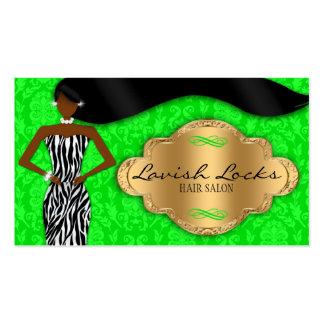 African American Hair Stylist Green Gold Zebra Business Card