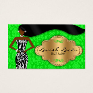 African American Hair Stylist Green Gold Zebra Business Card