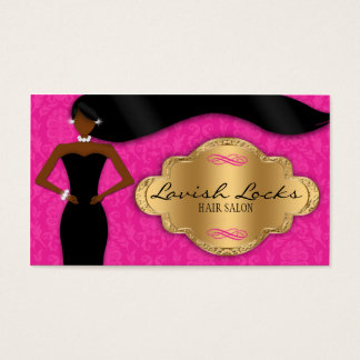 African American Hair Stylist Pink Gold Damask Business Card