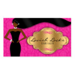 African American Hair Stylist Pink Gold Damask Business Card Templates
