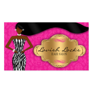 African American Hair Stylist Pink Gold Zebra Business Card