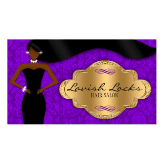 African American Hair Stylist Purple Gold Damask Business Card