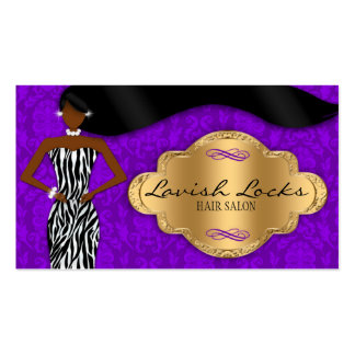 African American Hair Stylist Purple Gold Zebra Business Cards