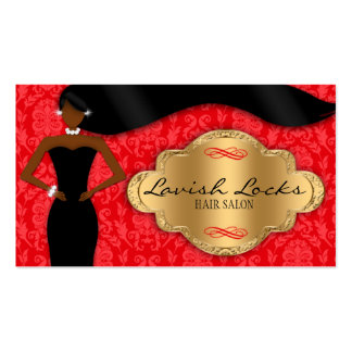 African American Hair Stylist Red Gold Damask Business Card Templates