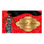 African American Hair Stylist Red Gold Zebra Double-Sided Standard Business Cards (Pack Of 100)