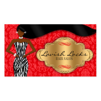 African American Hair Stylist Red Gold Zebra Business Card