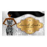 African American Hair Stylist Silver Gold Zebra Double-Sided Standard Business Cards (Pack Of 100)