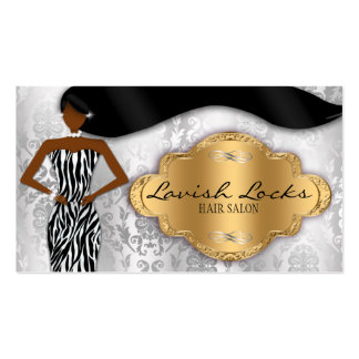 African American Hair Stylist Silver Gold Zebra Business Card