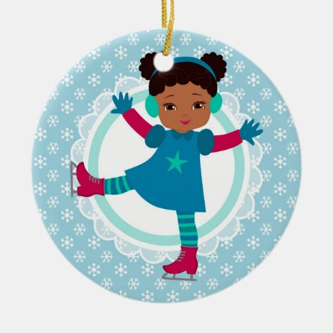 African American Ice Skater - Winter Sports Skati Ceramic Ornament