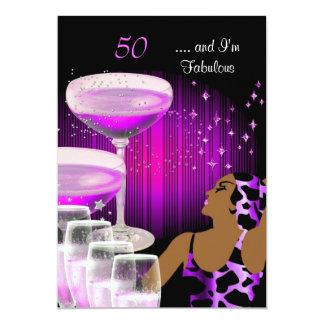 African American Lady Fabulous 50 Birthday Diva Card