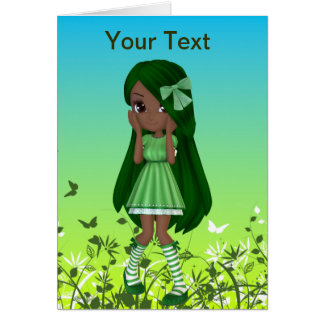 African American Lady Lime Greeting Card