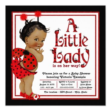 Toddler & Baby themed African American Ladybug Baby Shower Card