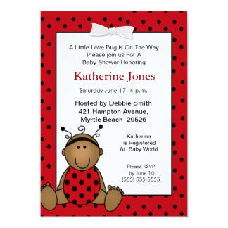 African American  Ladybug Baby Shower  Invitation