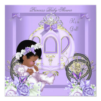 """African American Lavender Baby Shower Girl 5 5.25"""" Square Invitation Card"""