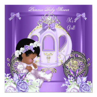 African American Lavender Baby Shower Girl 5A 5.25x5.25 Square Paper Invitation Card