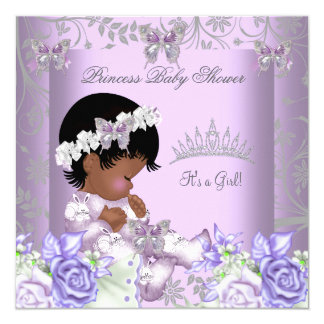 African American Lavender Gray Baby Shower Girl 2 5.25x5.25 Square Paper Invitation Card