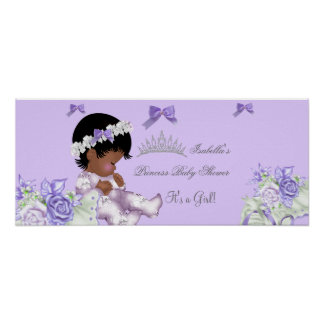 African American Lavender Gray Baby Shower Girl 2 Poster