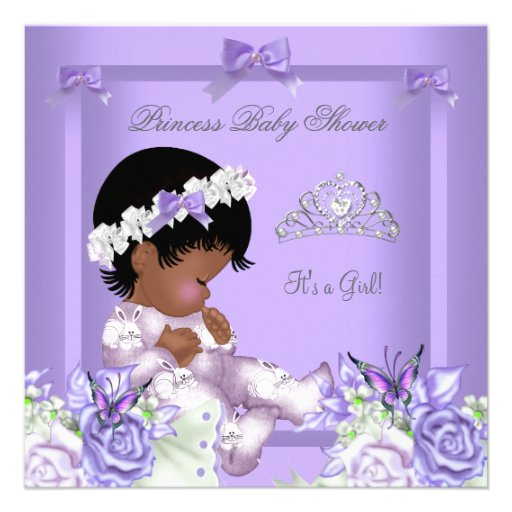 African American Lavender Gray Baby Shower Girl 4 Announcement