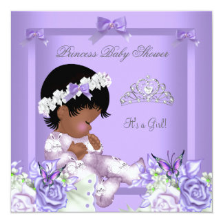 """African American Lavender Gray Baby Shower Girl 4 5.25"""" Square Invitation Card"""