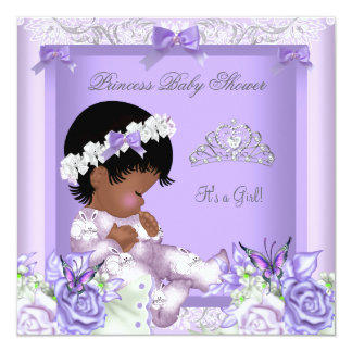 """African American Lavender Gray Baby Shower Girl 5 5.25"""" Square Invitation Card"""