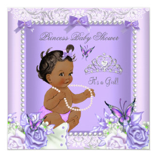 African American Lavender Gray Baby Shower Girl Card