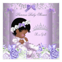 African American Lavender Gray Baby Shower Girl Invitation