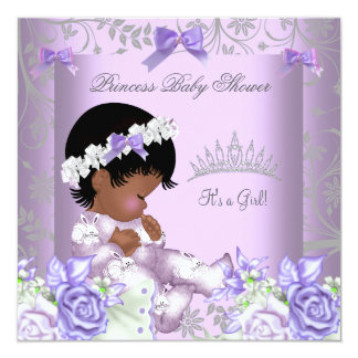 """African American Lavender Gray Baby Shower Girl 5.25"""" Square Invitation Card"""