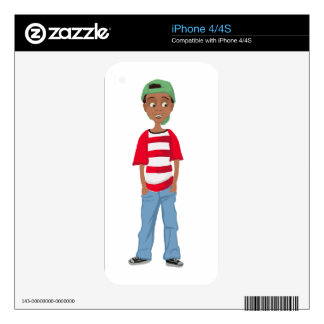 African American little cartoon  boy Decals For iPhone 4