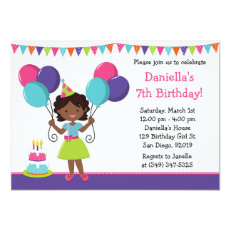 African American Little Girl Birthday Party Card